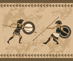 Ancient greek background with fighting people and ornament. Traditional ethnic design. Vintage vector illustration