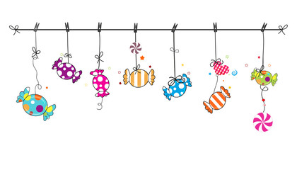Hanging colorful sweet candy. Traditional candies for Seker Bayram holiday. Greeting Card background
