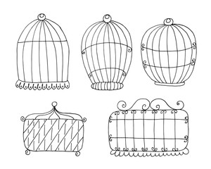 Hand drawn Set with vintage bird cage. vector print