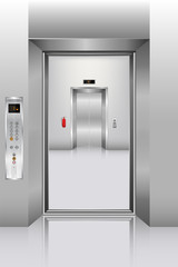 Realistic elevator in office building, Interior concept, Vector, Illustration