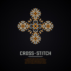 Cross stitch square logo. Cross-stitching logotype. Business identity concept for embroidery company.