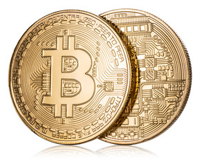 Physical bitcoin on white background. Cryptocurrency. Clipping path.