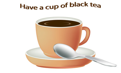 Black tea. Cup of hot tea isolated on white background. Black tea in a porcelain cup. Vector illustration.