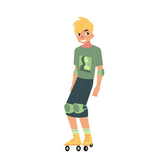 Roller skating young man with sports protection isolated on white background - summer active recreation concept. Cartoon male character with blonde hair roller blading, vector illustration.
