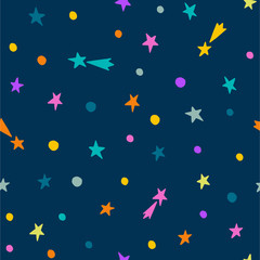 Hand drawn seamless pattern. Night sky with falling stars. Ideal for kids textile print, wallpapers, wrapping paper
