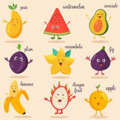 Big bright set of funny cartoon fruits