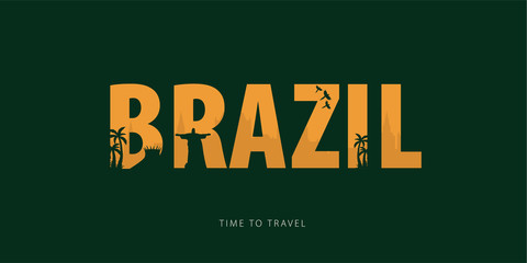 Brazil. Travel bunner with silhouettes of sights. Time to travel. Vector illustration