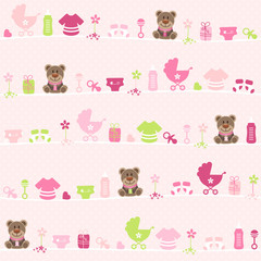 Seamless Pattern Teddy Baby Symbols Girl Dots Pink