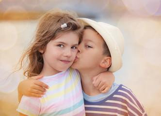 Kiss Boy Girl Kids Brother Sister
