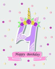 Vector illustration with number Four, Unicorn Horn, ears and flower wreath. Template for birthday, party invitation, greeting card. Cute Number Four as logo, patch, sticker.