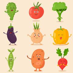 Big bright set of funny cartoon vegetables
