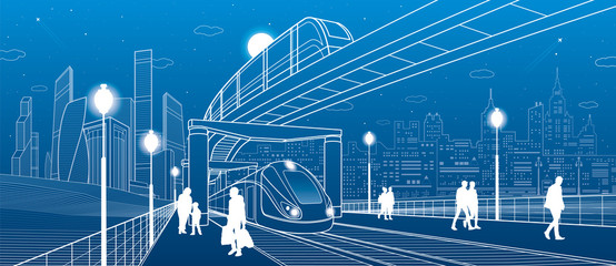 Infrastructure and transport panorama. Monorail railway. People walking. Train move. Illuminated platform. Modern night city. Towers and skyscrapers. White lines on blue background. Vector design art