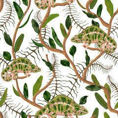 Seamless pattern with tropical leaves and chameleon. Exotic botanical background. Vector illustration in watercolor style