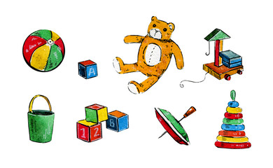 Hand drawn cartoon watercolor set of different children toys
