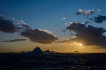 Foto auf AluDibond Antarktis Sunset in Antarctica with iceberg