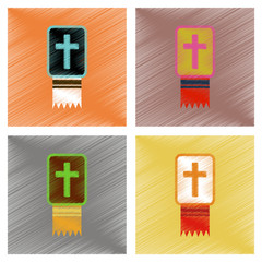 assembly flat shading style icons Bible book