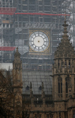 Big Ben's clock face is seen after the hands were removed during maintenance and restoration work on the Houses of Parliament in London