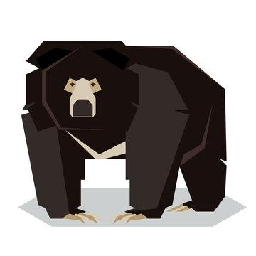 Flat polygonal Sloth Bear