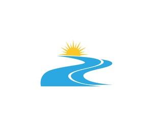 River nature logo design vector template