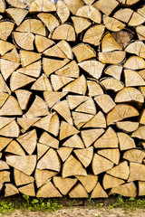 Firewood placed on the ground