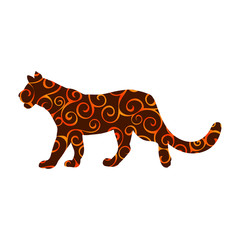 Lioness wildcat predator spiral pattern color silhouette animal.