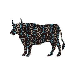 Bull buffalo farm mammal spiral pattern color silhouette animal.