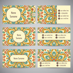 Set of business cards with floral mandala ornaments. Vector illustration