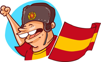 world cup spain national soccer team supporter with flag and russian ushanka hat