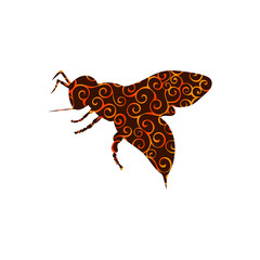 Bee insect spiral pattern color silhouette animal.