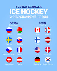 Men's Ice Hockey World Championship 2018. Vector illustration. Participating countries flags icons. Hockey group stage table. Graphic scoreboard for international tournament. winter sport competition