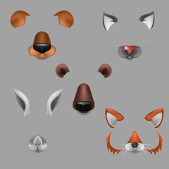 Vector realistic animals faces video chat, photo effects, selfie filters set