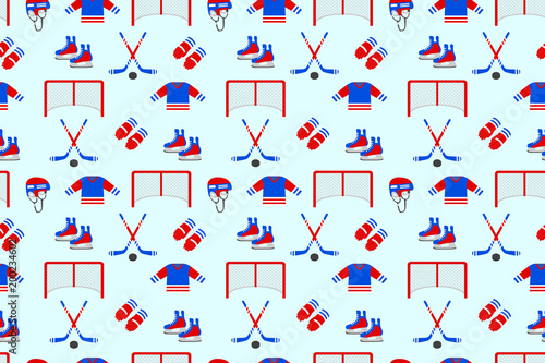 Ice Hockey Samless Pattern Vector Background Mens Ice Hockey