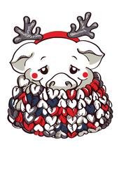Mink in scarf and hoop with reindeer horns.  Vector pig