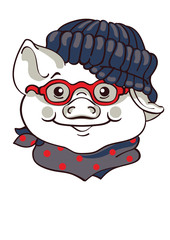 Vector pig with glasses, Hand drawn illustration of dressed piggy.