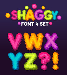 Shaggy font 4 set cartoon letters. Vector color illustration sign v, w, x, y, z