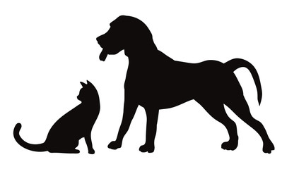 Set of silhouettes of the cat and the dog vector illustrations - Isolated on white background   犬と猫のシルエット ベクターイラスト素材