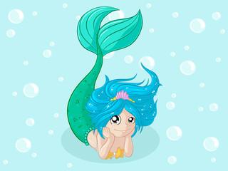 Verträumte Comic Meerjungfrau