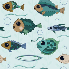 Cartoon fishes with big eyes and mosaic scales with a hand drawn contour, seamless vector pattern background