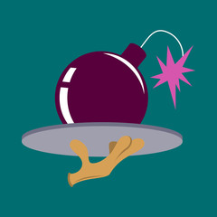 flat icon on theme humor bomb