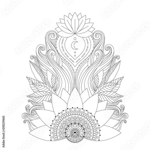 Ornamental Black And White Lotus Flowers Ethnic Decorative Element