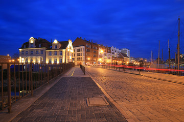 Promenade at Motlawa river in Gdansk at night, Poland
