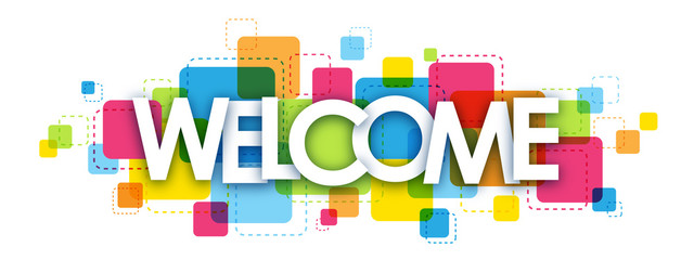 """WELCOME"" overlapping letters vector icon"