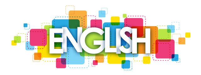 """""""ENGLISH"""" colourful vector letters icon"""