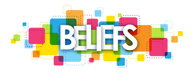 BELIEFS colourful vector letters icon