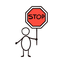 Man holding a traffic sign stop, vector