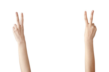Woman hand showing victory sign