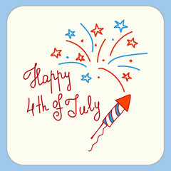 Happy independence day card United States of America, 4 th of July. Greeting Card with Font. Happy fourth of July card. Hand drawn decoration.  Doodle style vector illustration.