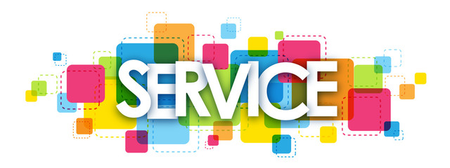 SERVICE colourful vector letters icon