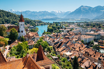 Thun cityscape with Alps mountain and lake in Switzerland Wall mural