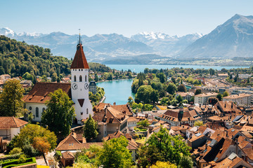 Thun cityscape with Alps mountain and lake in Switzerland